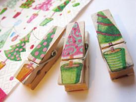 Okrasne ščipalke z zimskimi motivi