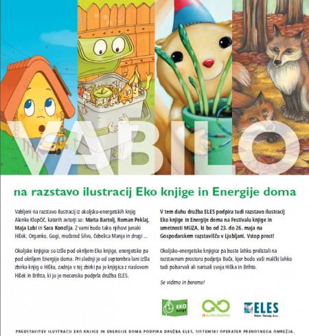 vabilo - razstava ilustracij Eko knjige in Energije doma