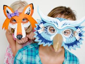 Pustni maski – sova in lisica